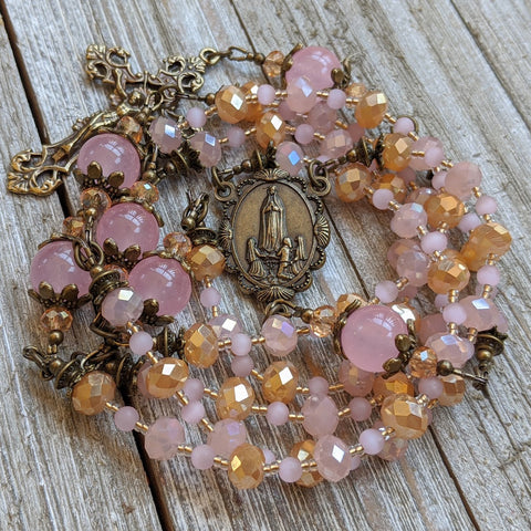 Pink & Gold faceted/Rose Quartz 5 decade Rosary with Fatima medal