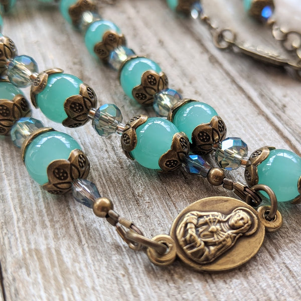 Our Lady of Sorrows Servite Rosary - Bronze tone, Iridescent & Jade Green Glass