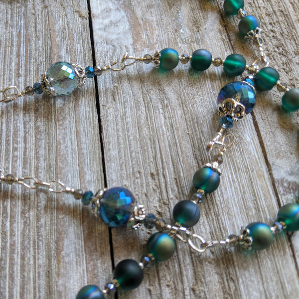 ARCHANGEL MICHAEL blue green pearlescent glass  5 decade Rosary