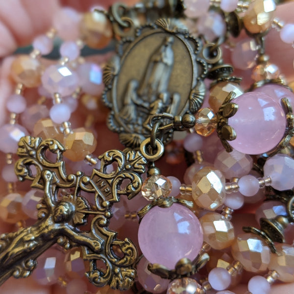Special order for Rochelle - Pink & Gold faceted/Rose Quartz 5 decade Rosary with Fatima medal