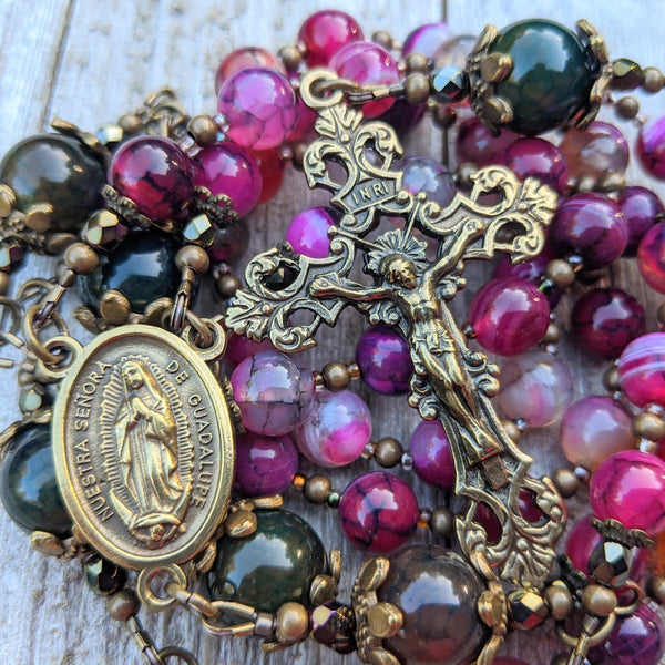 OUR LADY OF GUADALUPE semi-precious agate 5 decade Rosary