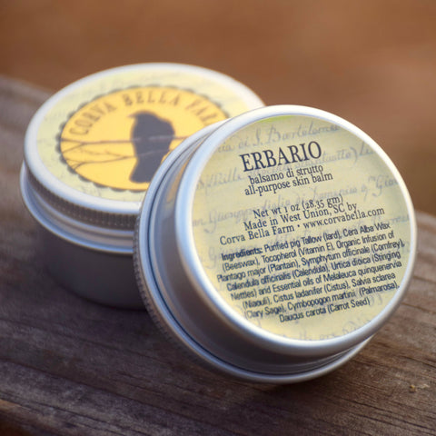 Erbario (One oz. size) all-purpose herbal pig tallow skin balm