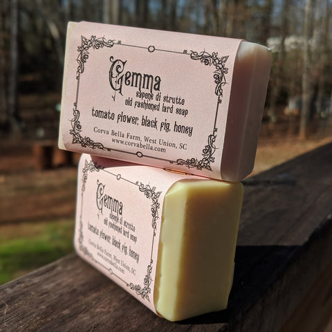 GEMMA lard soap - Tomato flower, Black Fig & Honey