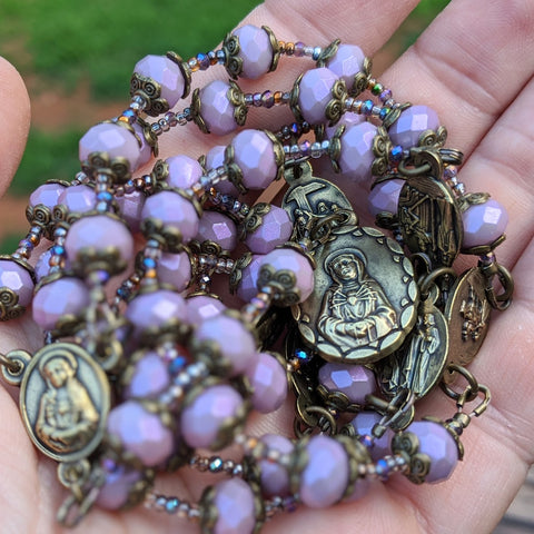 Our Lady of Sorrows Servite Rosary - Violet & Bronze