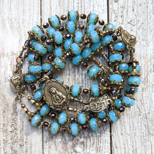 Our Lady of Sorrows Servite Rosary - Turquoise Fire polished Czech Faceted Glass