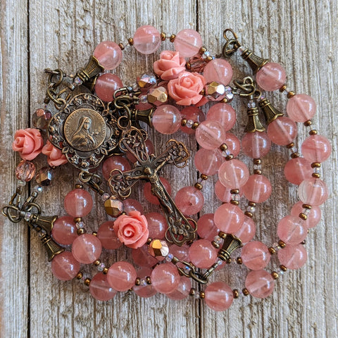 SAINT THERESE - LITTLE FLOWER - TRUE BRONZE ROSARY