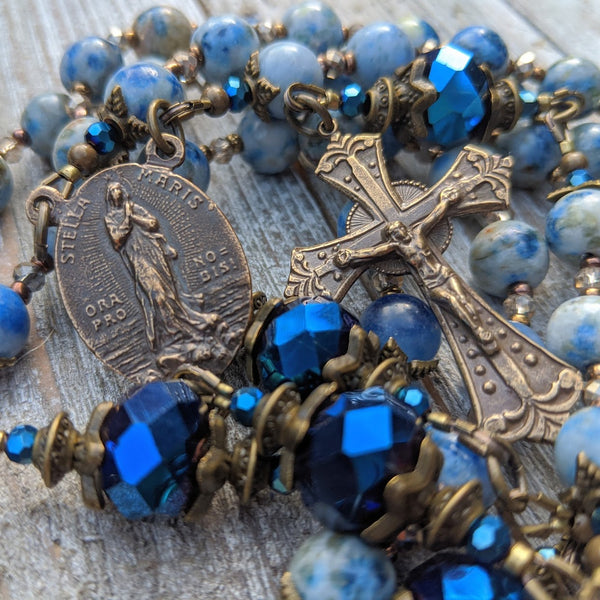 Stella Maris Blue Lace Agate & iridescent faceted glass & true bronze 5 decade Rosary