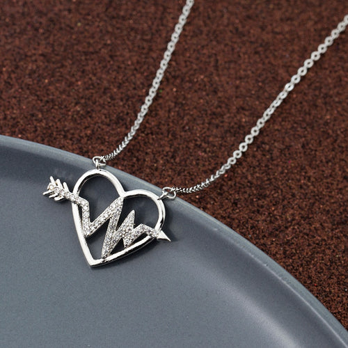 Heartbeat Pendant Crystal Necklace