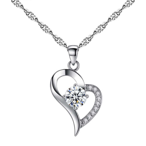 Heart Pendant w/Crystal, Necklace