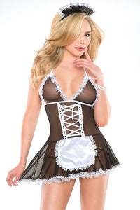 French Maid Babydoll & Headpiece Costume