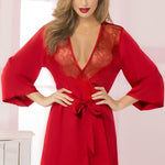 Cardinal Red Satin and Eyelash Lace Robe - Sex Toys Vancouver Same Day Delivery