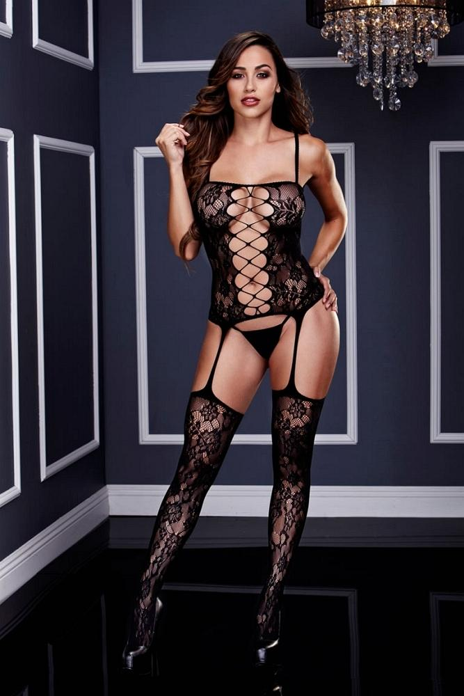 Corset Front Suspender Lace Bodystocking - Sex Toys Vancouver Same Day Delivery