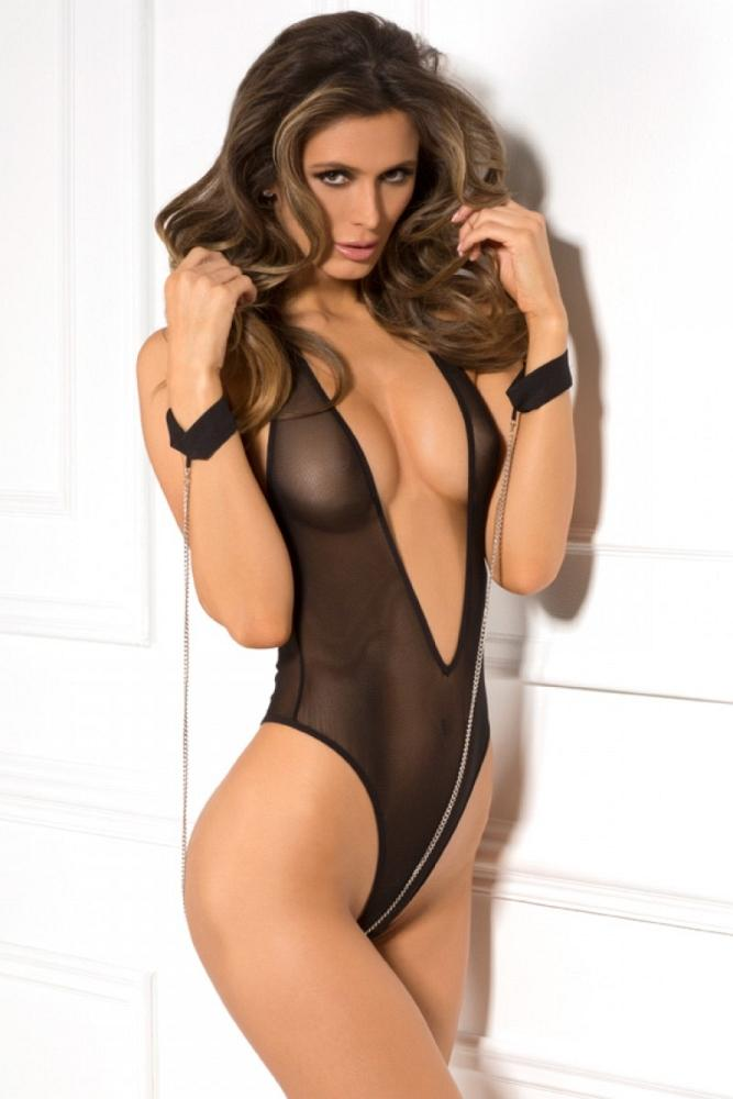 Black Mesh Teddy and Cuff Set - Sex Toys Vancouver Same Day Delivery