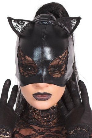 Wet Look and Lace Cat Mask - Sex Toys Vancouver Same Day Delivery
