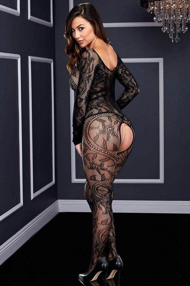 Swirling Black Lace Bodystocking - Sex Toys Vancouver Same Day Delivery