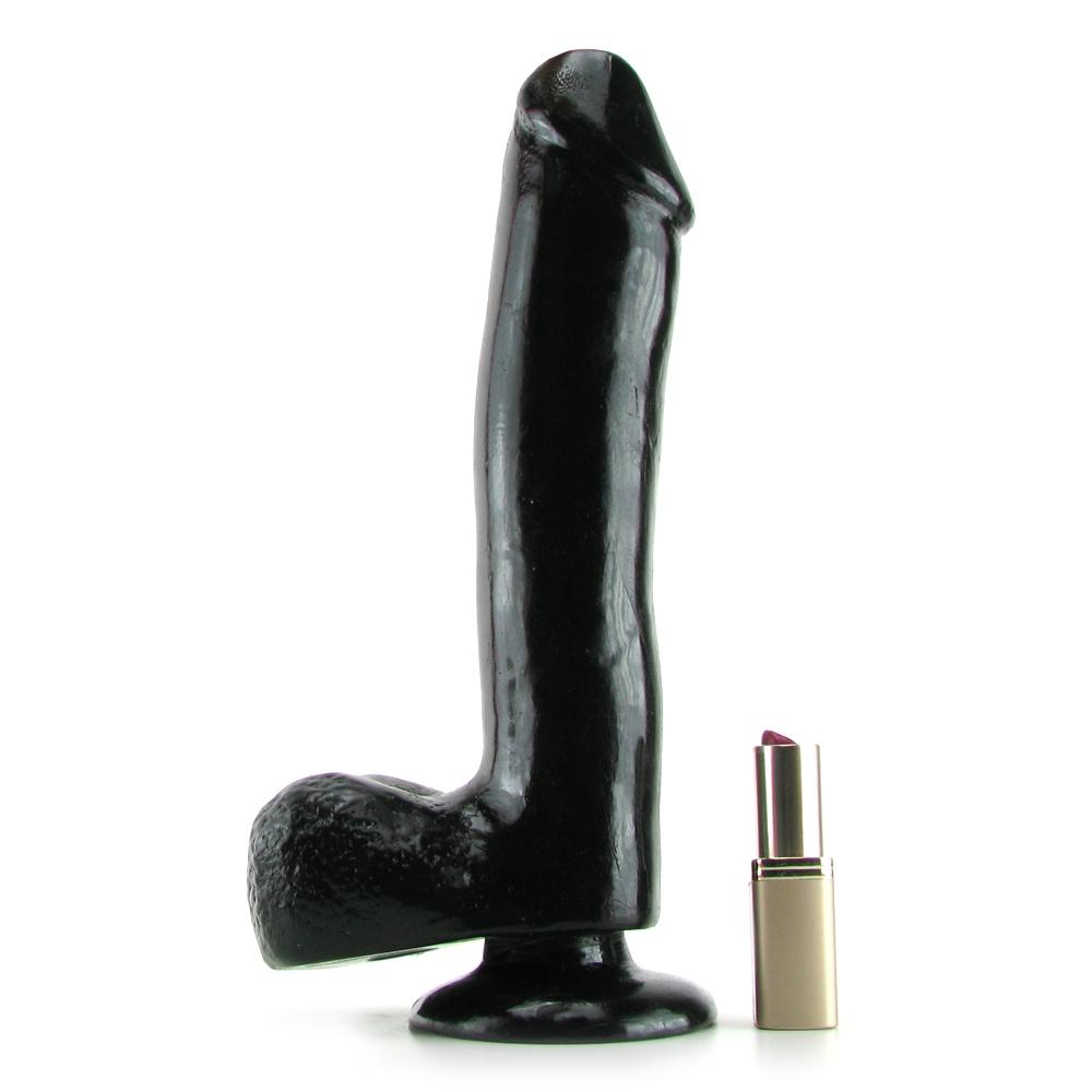 Basix 10 Inch Suction Base Dildo in Black - Sex Toys Vancouver Same Day Delivery