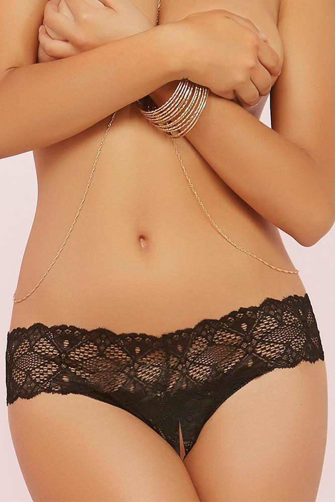 Black Crocheted Lace Split Crotch Thong