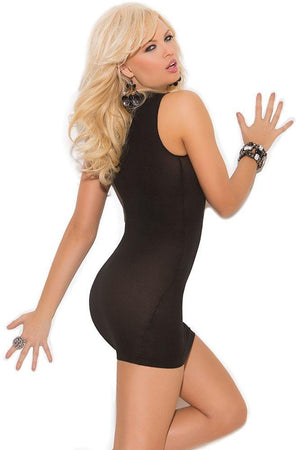 Black Opaque Cupless Mini Dress - Sex Toys Vancouver Same Day Delivery