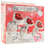 Booty Sparks Red Heart Gem Glass Anal Plug Set - Sex Toys Vancouver Same Day Delivery