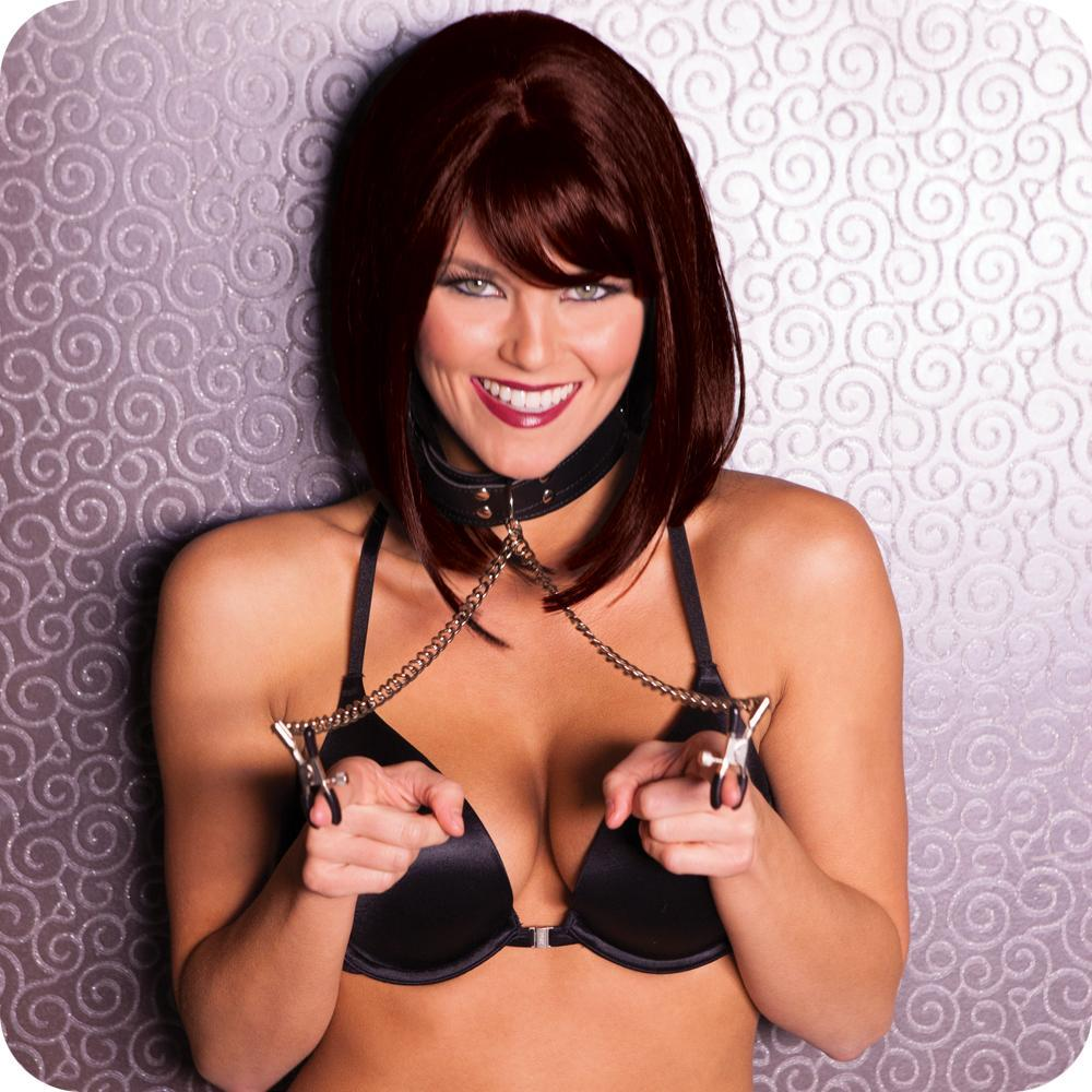 Collar with Nipple Clamps - Sex Toys Vancouver Same Day Delivery