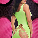 Criss Cross the Dark - Neon Green Mini Dress - Sex Toys Vancouver Same Day Delivery