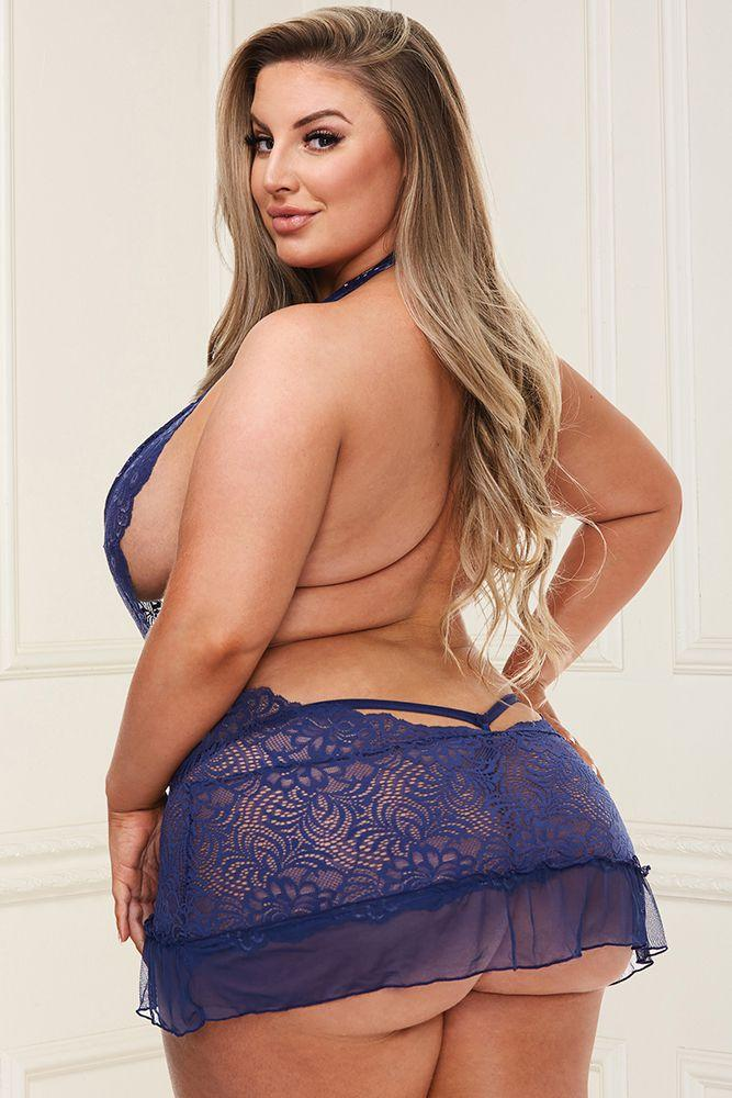 Deep-V Blue Lace Chemise - Sex Toys Vancouver Same Day Delivery