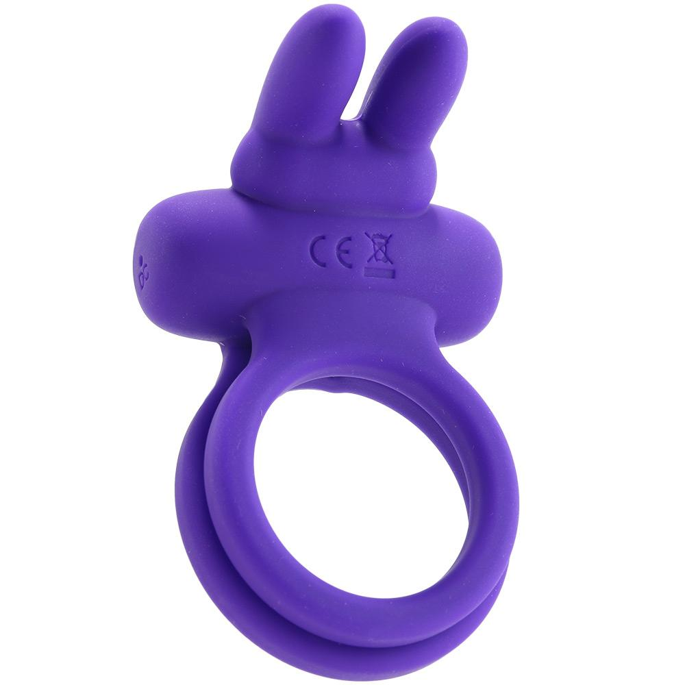 Dual Rockin' Rabbit Vibrating Cock Ring in Purple