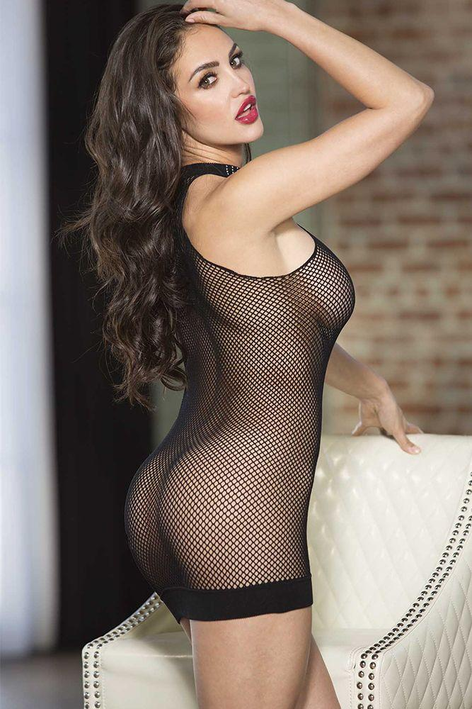 Fishnet Halter Neck Chemise with Rhinestone Trim - Sex Toys Vancouver Same Day Delivery