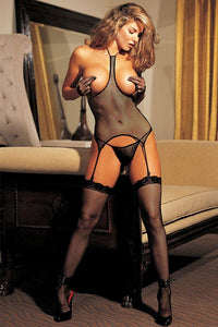 Fishnet Open Bust 3 Piece Set - Sex Toys Vancouver Same Day Delivery