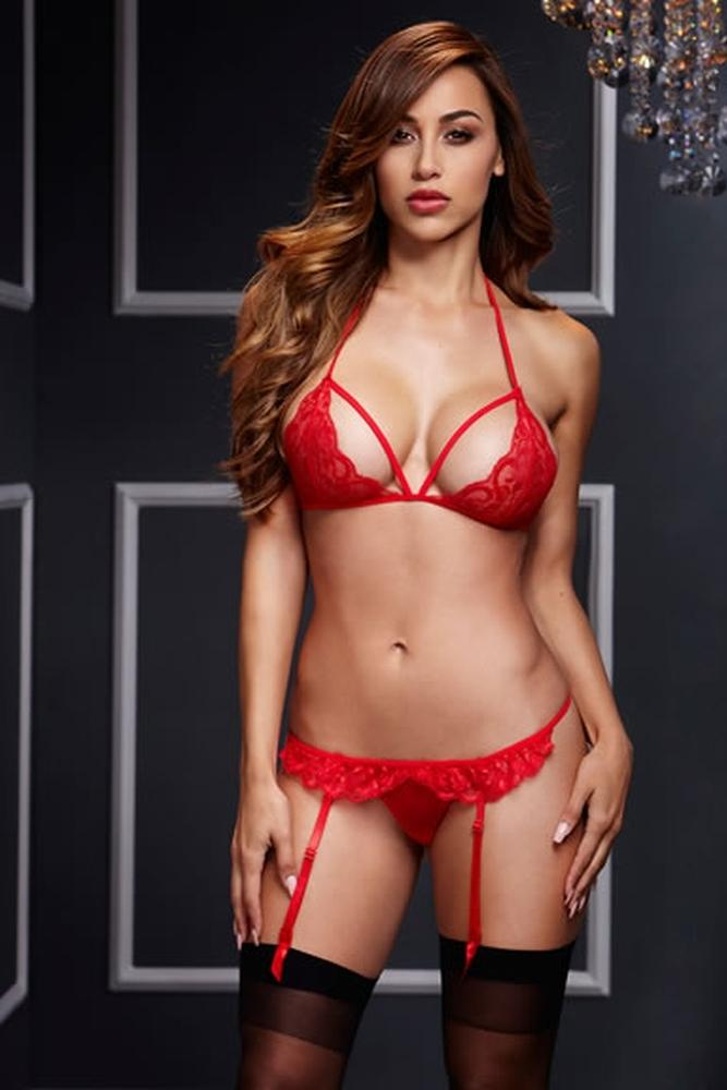 Lacy Bra & Open Crotch Garter Panty - Sex Toys Vancouver Same Day Delivery