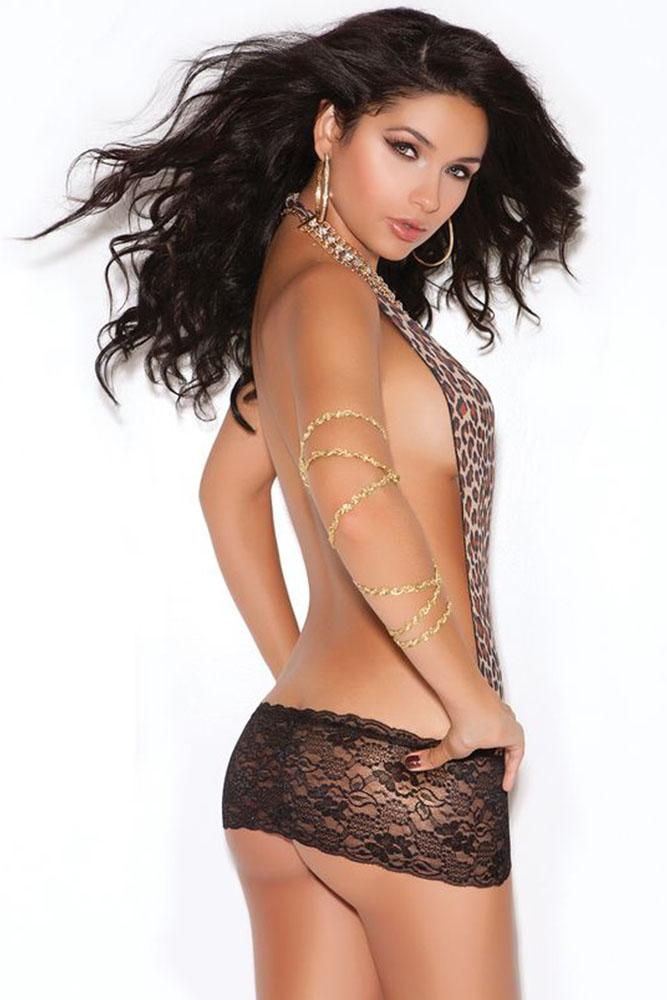 Leopard and Lace Backless Mini Dress - Sex Toys Vancouver Same Day Delivery