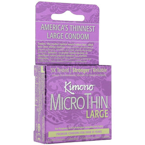 Kimono MicroThin Large Condoms in 3 Pack - Sex Toys Vancouver Same Day Delivery
