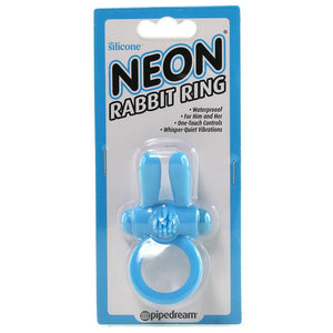Neon Rabbit Vibrating Cock Ring in Blue - Sex Toys Vancouver Same Day Delivery