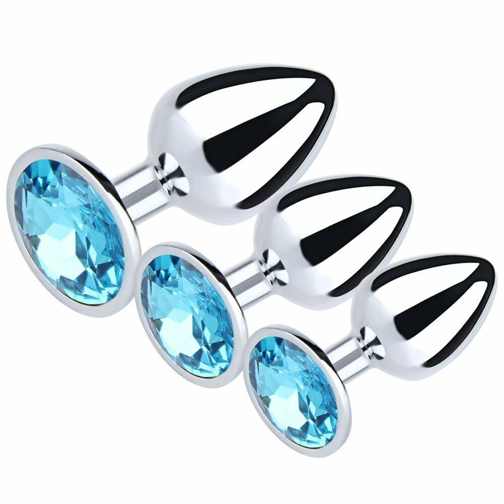 Eastern Delights 3 PCS Jewelry Anal Plug Steel Metal Butt Plated Plug - Sex Toys Vancouver Same Day Delivery