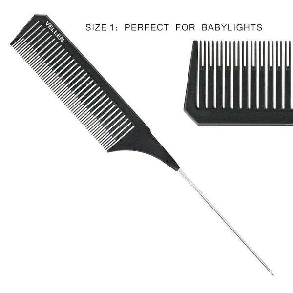 Vellen Weave Tail Comb Set- Perfect for All High Lights - Black