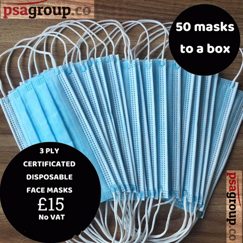 3 Ply Disposable Face Masks Box of 50