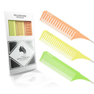 Vellen Weave Tail Comb Set- Perfect for All High Lights - Orange