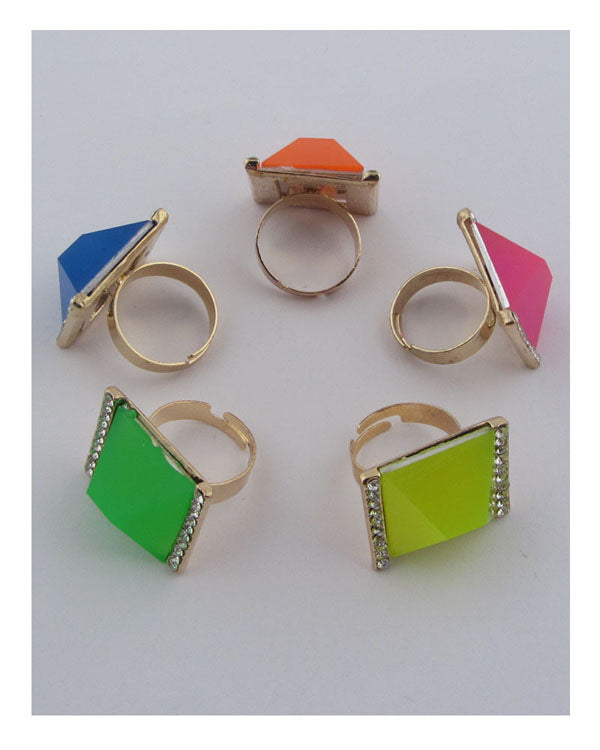Square neon adjustable ring - crespo-cynergy