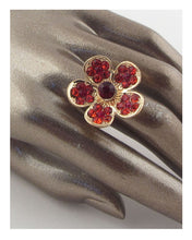 Load image into Gallery viewer, Flower rhinestone adjustable ring - crespo-cynergy