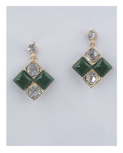 Load image into Gallery viewer, Square earrings w/rhinestone detail - crespo-cynergy