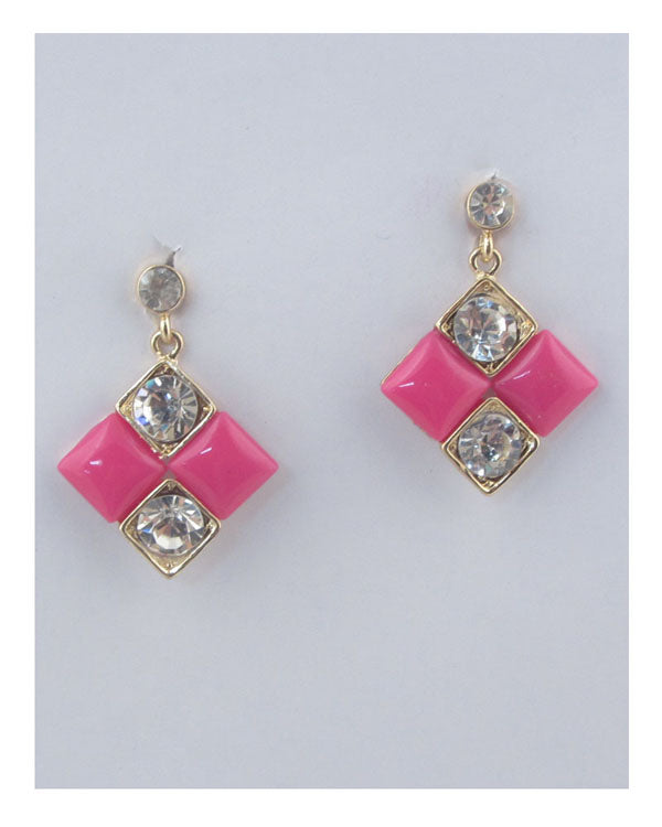 Square earrings w/rhinestone detail - crespo-cynergy