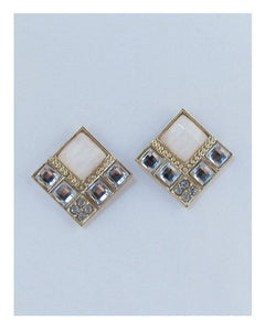 Squared faux stone earrings - crespo-cynergy