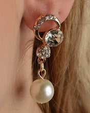 Load image into Gallery viewer, Rhinestone Faux Pearl Dangle Earrings - crespo-cynergy