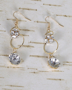 Stone and Crystal Studded Fishhook Drop Earrings id.31483 - crespo-cynergy