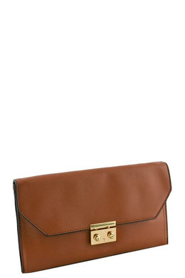 Designer push lock flap clutch - crespo-cynergy