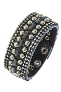 Rhinestone and stud accent band bracelet - crespo-cynergy