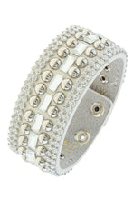 Load image into Gallery viewer, Rhinestone and stud accent band bracelet - crespo-cynergy