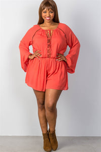 Ladies fashion plus size ladder inset romper - crespo-cynergy