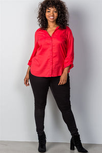 Ladies fashion plus size red roll-sleeve plus size top - crespo-cynergy