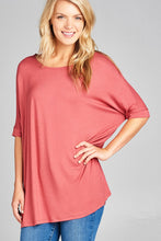 Load image into Gallery viewer, Ladies fashion elbow sleeve round neck rayon spandex jersey tunic top - crespo-cynergy